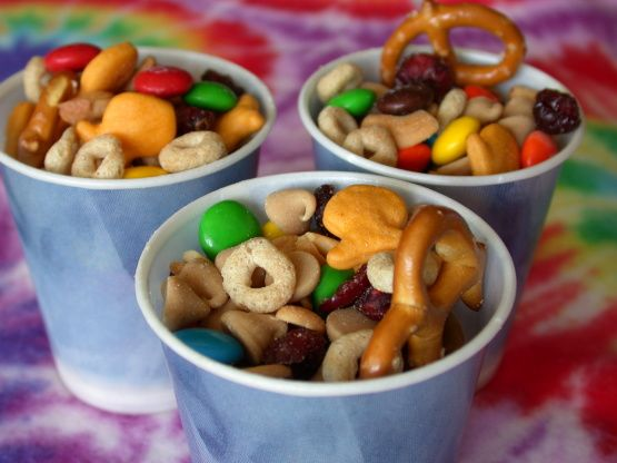 """Make before leaving and put in small baggies for easy grab when need snack...Kiddos Favorite Trail Mix from Food.com: Easy, nutritious, keeps for a long time (in a sealed container), easily """"tweaked"""" to fit your personal tastes. A REAL kid-pleaser."""