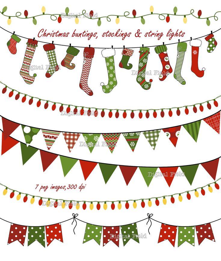 Christmas Buntings Stockings & Lights clip art by digitalfield