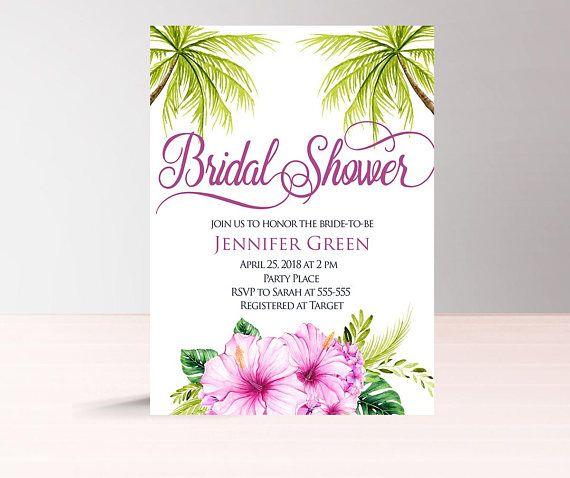 Tropical bridal shower invitation printable luau bridal shower tropical bridal shower invitation printable luau bridal filmwisefo