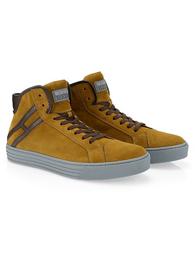 #HOGANREBEL R141 High-top #leather #sneaker with #suede inserts, padding at the ankle, advisable stitching. Explore street allure and attention to detail here hoganrebel.com/men