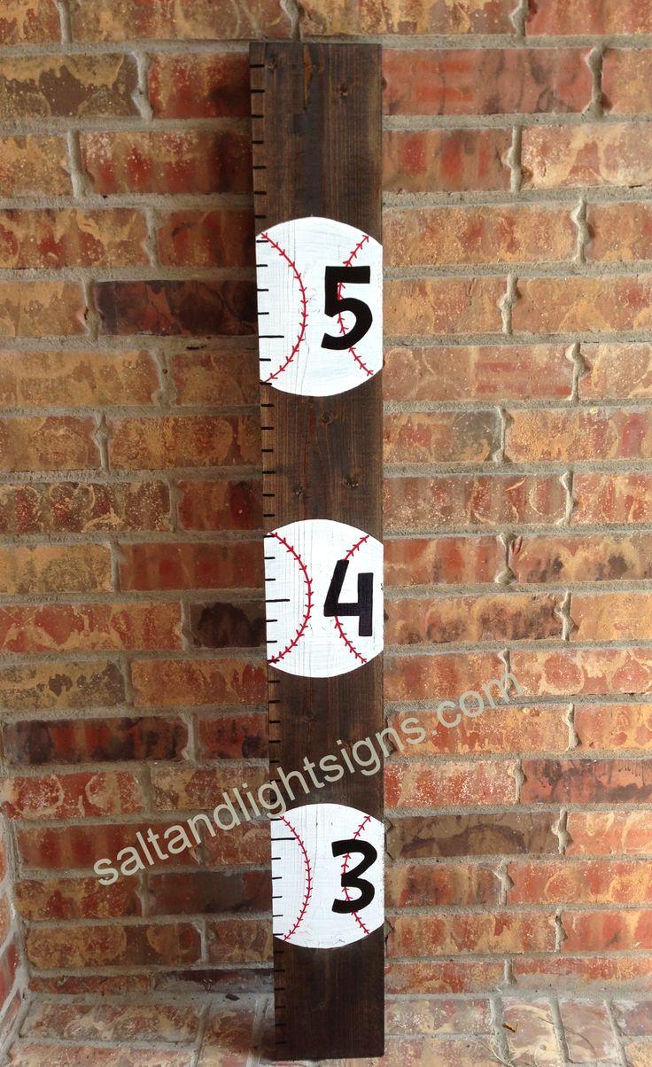 saltandlightsigns.com Childrens room boys nursery measure ruler height baseball