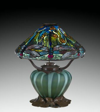 Dragonflies and Water Flowers Reading Lamp, Designed by Clara Driscoll for Tiffany Studios, Corona, NY, United States, 1899. 2013.4.4. #corningmuseumofglass #cmog #glass #lamp #modernglass #tiffany #greenglass