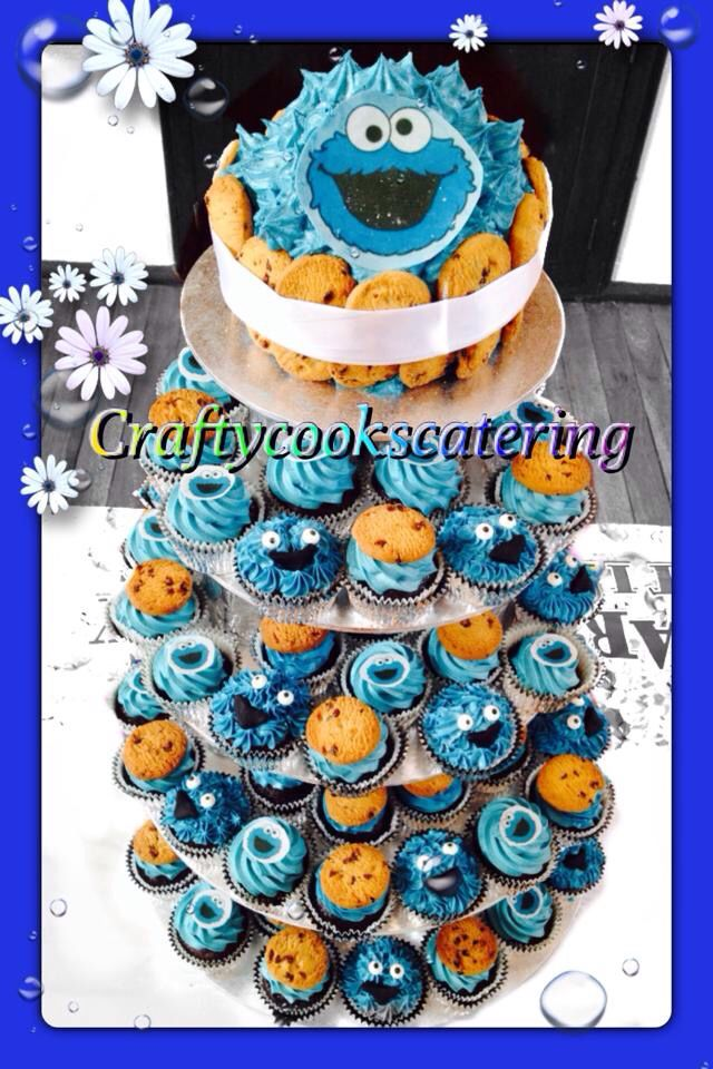 Cookie Monster cupcake tower #craftycookscatering