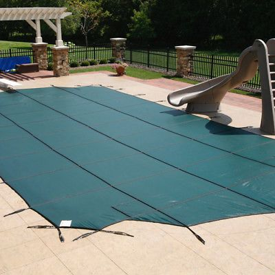 Covertech 16 ft x 36 ft Rectangle Deluxe Mesh Swimming Pool Safety Cover - Green