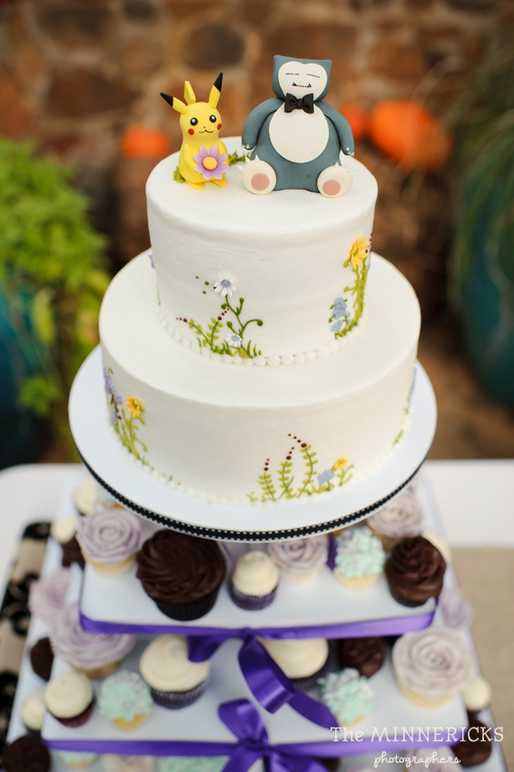 Pokemon wedding cake! Pikachu bride. (photo by The Minnericks Photographers)