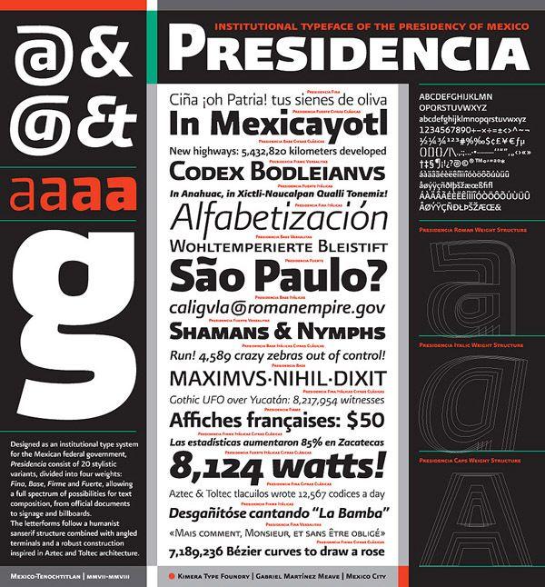 Lo que más me gusto del sexenio pasado fue...  Presidencia Sans by Gabriel Martínez Meave, via Behance