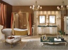 Rustic Luxury Bathroom Decorations In Brown Nuance With Deluxe Chandelier Placement