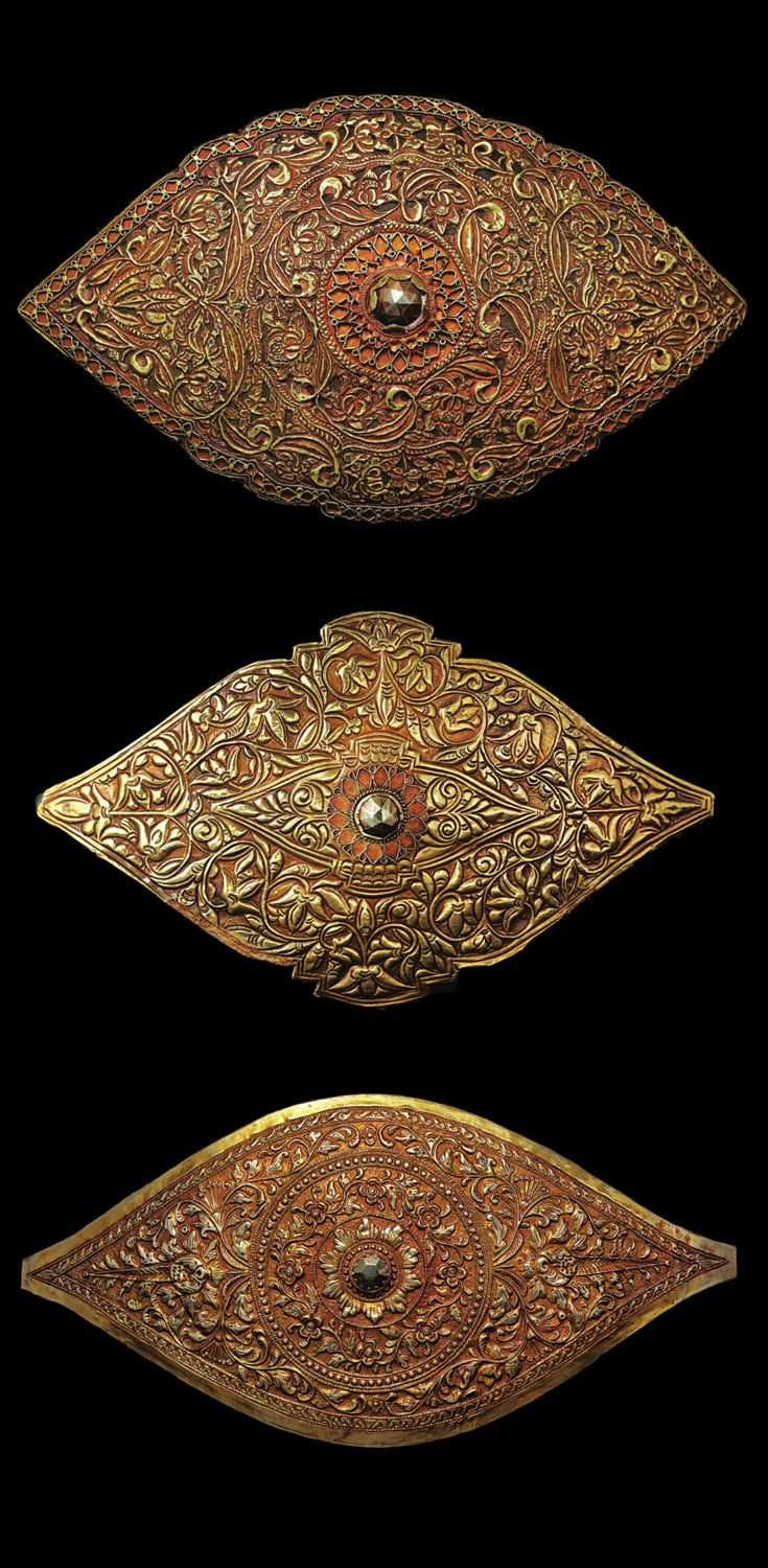 Indonesia ~ West Sumatra, Minangkabau | Buckles ~ 'pandieng' ~ gold, copper, haematite | 19th century ||| Source; issuu.com/...
