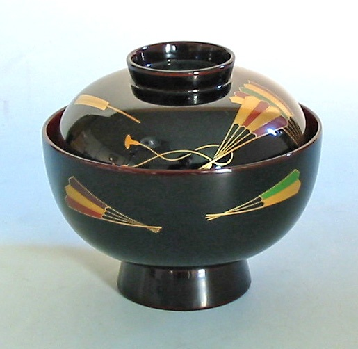 Japanese lacquer soup bowl