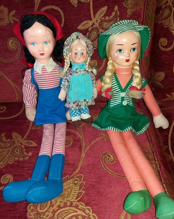 Lotto tre bambole gambe lunghe e viso in celluloide, Ceppiratti, vintage.