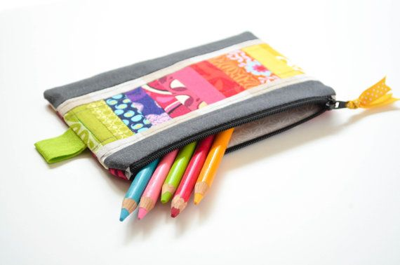 Rainbow Pencil Case Pouch Quilted Striped by sewandtellhandmade