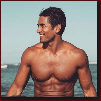 tanned man with healthy strong body