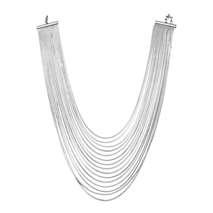 SNAKEBIB - silver snake chain bib necklace