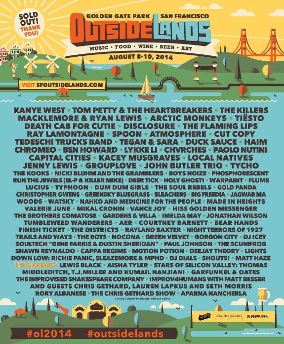 Outside Lands Festival - Schedule Announced