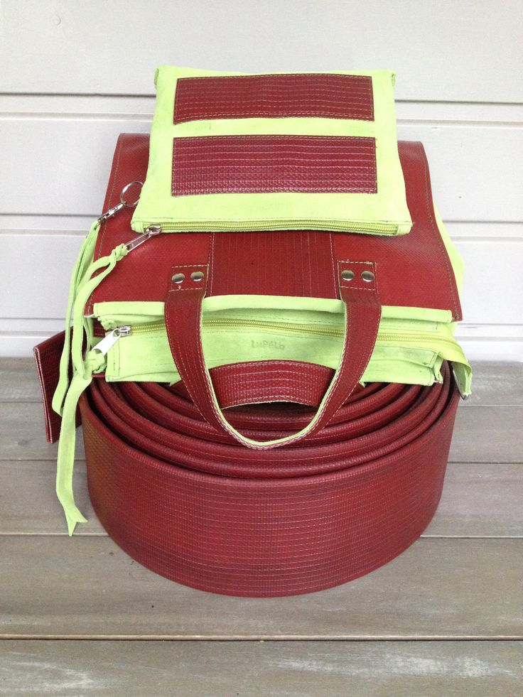 Used firehose and lime-colored leather
