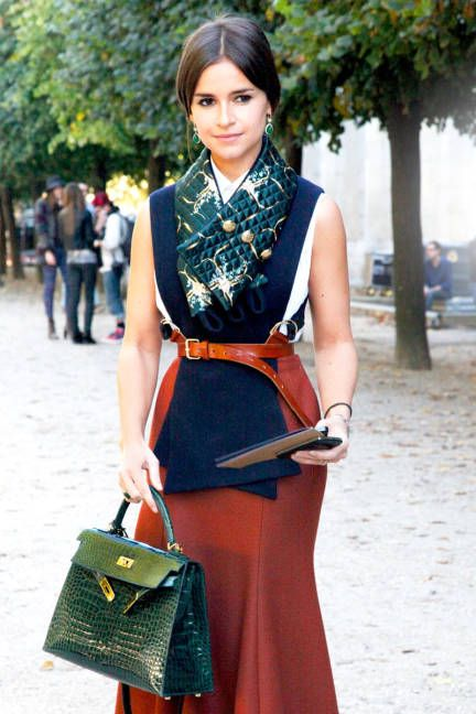 Paris-Name: Miroslava Duma  Similar Skirt: Marc Jacobs or Topshop  Similar Bag: Topshop or MICHAEL Michael Kors  Similar Belt: Banana Republic