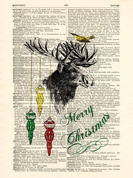 Originaldruck - Frohe Feiertage Vintage Art Wörterbuch Drucke - ein Designerstück von Dictionary-vintage-book-page bei DaWanda
