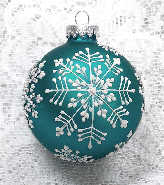 Soft Turquoise Hand Painted 3D MUD Snowflake Ornament with Crystal Trim 269 - SOLD!