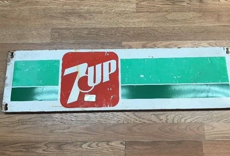 """Vintage 7UP Sign Metal 37"""" x 10"""" Long Advertising Sign #7UP"""