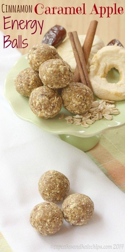 Healthy Snacks for Kids: Cinnamon Caramel Apple Energy Balls www.thenymelrosefamily.com #kids_snack #healthy_snack #energy_balls