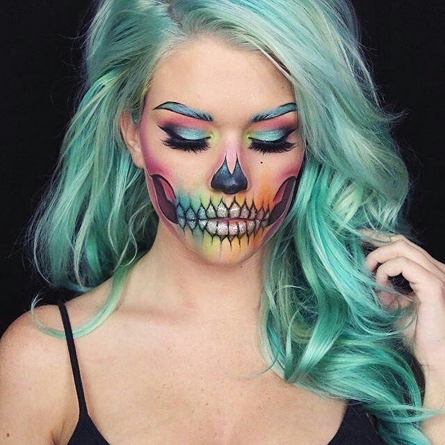 Gorgeous colorful Sugar skull Halloween Makeup. 10 gorgeous halloween makeup looks! Cheetah makeup, spider girl makeup, deer makeup, doe makeup, fawn makeup, fairy makeup, pop art makeup, fairy makeup, unicorn makeup, mermaid makeup, sugar skull makeup. Love this site with all of the gorgeous inspiration.