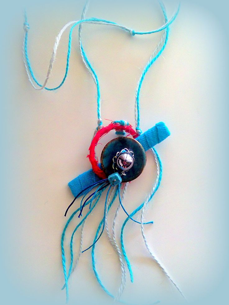 long summer necklace with linen cords, fabric and button./ KINZ jewelry