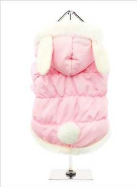 A practical and fun quilted coat in beautiful baby pink, fleece lined to keep you pup snug and warm and it is trimmed in faux fur along the hood and hem. Three poppers on the underbelly allow for fast and easy closure and makes it easy for you to take the coat on and off your pup. By the way, did we mention the ears? How cute are they... and of course the tail!