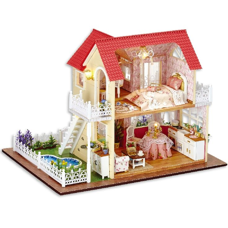 42.76$  Watch here - http://alivo9.shopchina.info/go.php?t=32781192135 - DIY Wooden Dollhouse Kit Model--Princess cottage Model & Furiniture LED Light with Music box 42.76$ #aliexpresschina