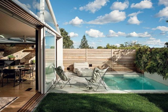 The new curiosity shoppe. A Ponsonby house that the renters Jade and Ben Hurst decided to buy from owners and do up.   A pocket lawn and small pool make up the back of the section.