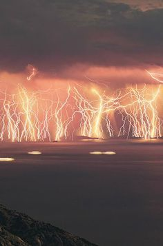 Catatumbo Lightning - At the point where the Catatumbo River meets Lake Maracaibo in Venezuela, a constant lightning storm illuminates the sky for around 10 hours a night, for almost half the nights out of the year.