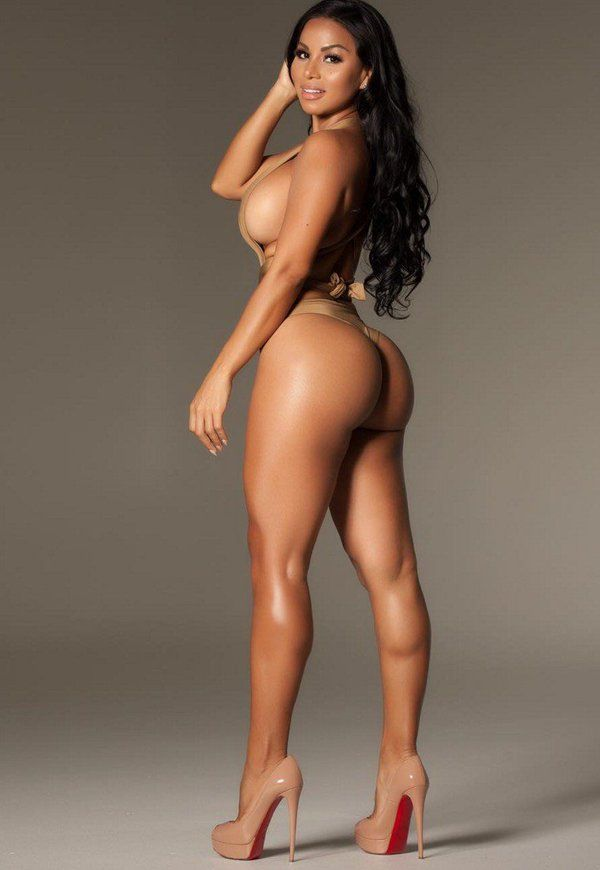 Dolly Castro looking immaculate in this nude/olive green bikini with nude Cristian Louboutin stilettos