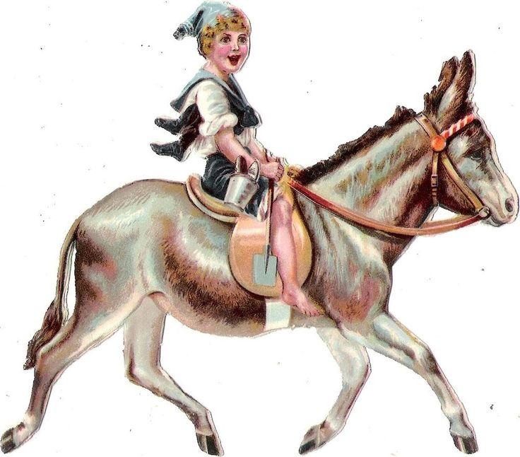 Oblaten Glanzbild scrap die cut chromo Esel donkey 13,4 cm Kind child enfant