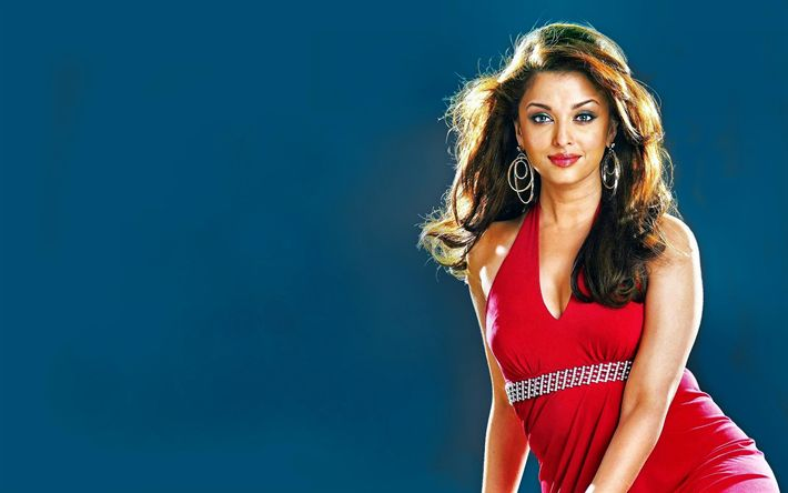 Download wallpapers Aishwarya Rai, 4k, beauty, indian actress, red dress, brunette, Bollywood