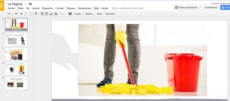 """BLOQUE 3: APLICAR.Uso de google presentaciones, con el invento e inventor de """"La fregona"""" que cumple 58 años desde que se invento por Manuel JAlón."""