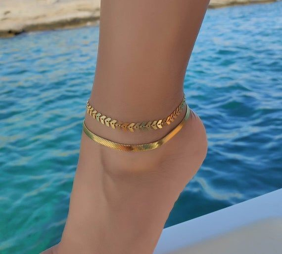 Wide Chain Anklet Foot Bracelet Gold Chain Anklet Bohemian Anklet Thick Chain Anklet Gold Ankle Bracelet Gypsy Anklet Boho Anklet