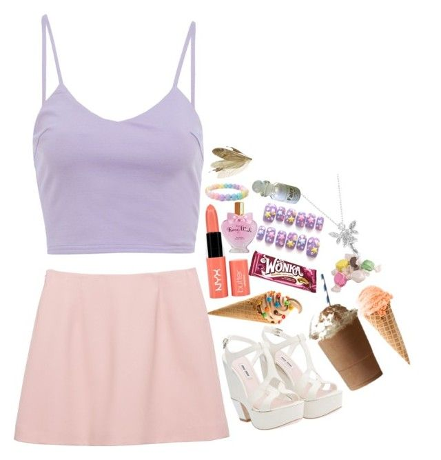 """""""i dont think so"""" by snotgirrl ❤ liked on Polyvore featuring AX Paris, Disney, Miu Miu, NYX and Salt Water Sandals"""