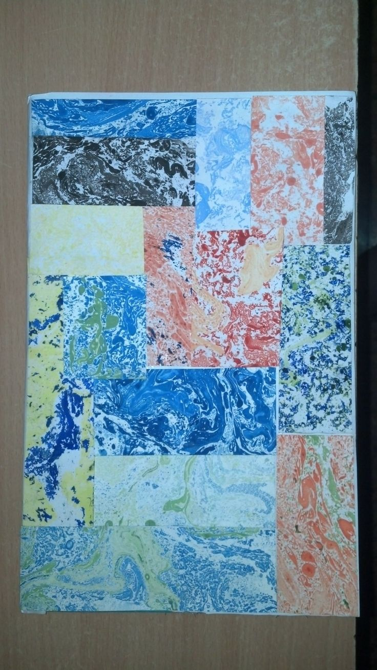 Marbled paper used to create a notebook cover... Used bits and pieces to create a patchwork of sorts...