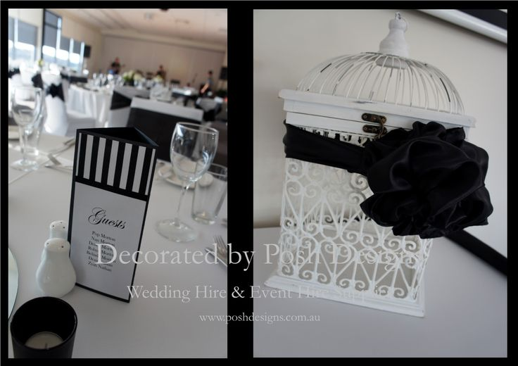 #whitebirdcage #blacksashes #blackandwhiteplacecards - #wedding #theming available at #poshdesignsweddings - #sydneyweddings #southcoastweddings #wollongongweddings #canberraweddings #southernhighlandsweddings #campbelltownweddings #penrithweddings #bathurstweddings #illawarraweddings  All stock owned by Posh Designs Wedding & Event Supplies – lisa@poshdesigns.com.au or visit www.poshdesigns.com.au or www.facebook.com/.poshdesigns.com.au #Wedding #reception #decorations #Outdoor