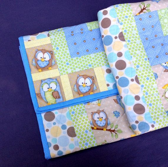 Baby Quilt  Little Blue Owl Baby Quilt. Baby Boy by birdsongquilts