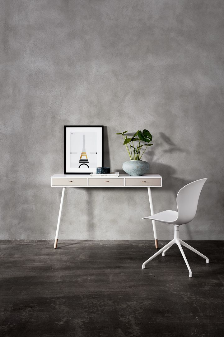"""Console table used as desk (white with light wood complements wood framed artwork) 14""""D but desk version is larger"""