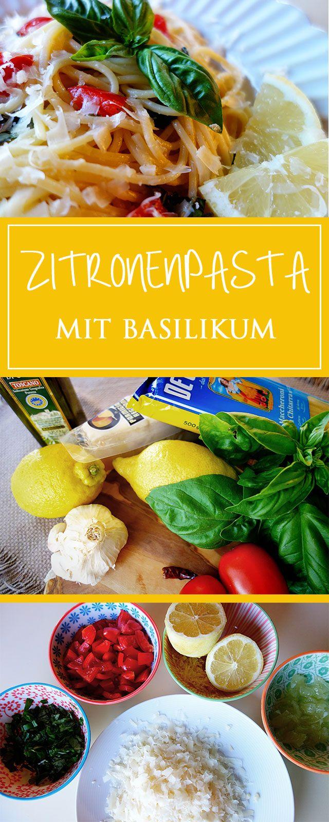 Zitronenpasta mit Basilikum - ein frisches, schnelles & herrlich zitroniges Rezept! Zudem glutenfrei, vegetarisch & toll im Sommer ❤️| cucina-con-amore.de