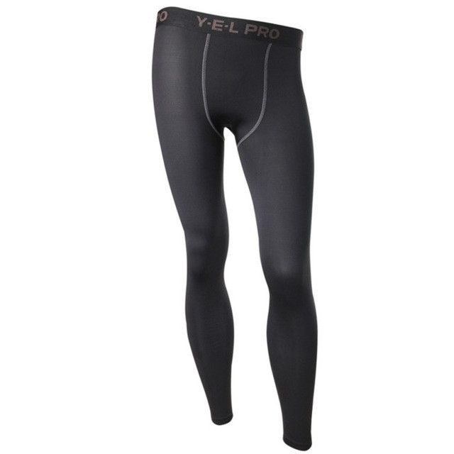 Bodybuilding Exercise Solid Color Trousers Men Compression Leggings Long Pants Tights Pants