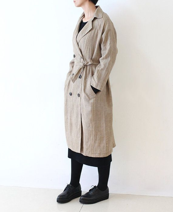 Womens trench coat linen Plaid Double Breasted Casual by lanbao