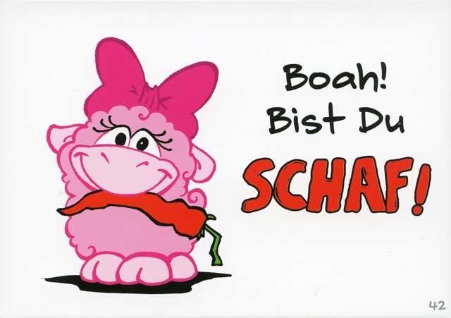 Olaf das Grummelschaf und Poppy Postkarte mit lustigen Sprüchen - Boah! Bist Du Schaf! Postkarten Lustige Sprüche
