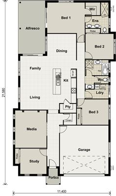 Bath/Laundry in middle of house