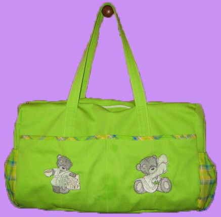 Another baby bag with tatty bear embroidery designs using lime green fabric with check fabric trimmings