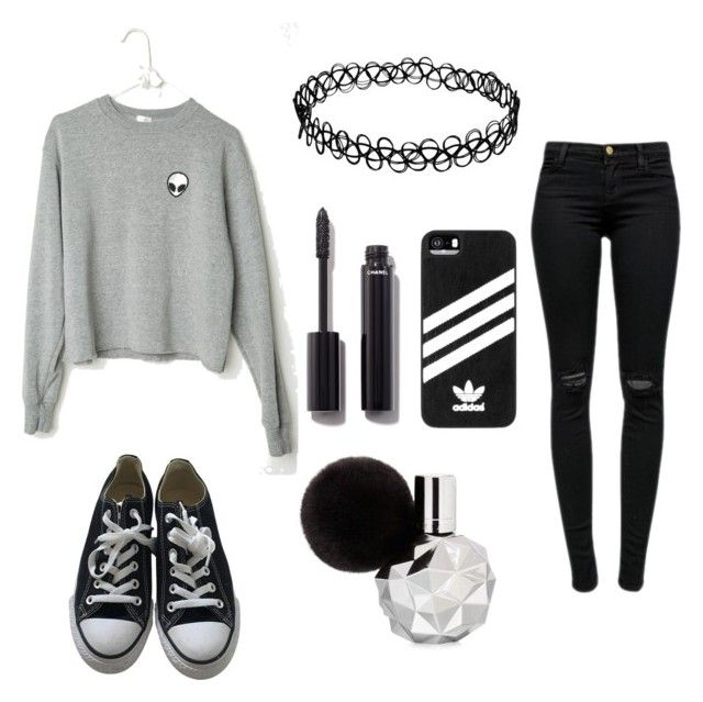 """TUMBLR OUTFIT #13"" by dellxmller ❤ liked on Polyvore featuring J Brand, Converse, adidas and Chanel"