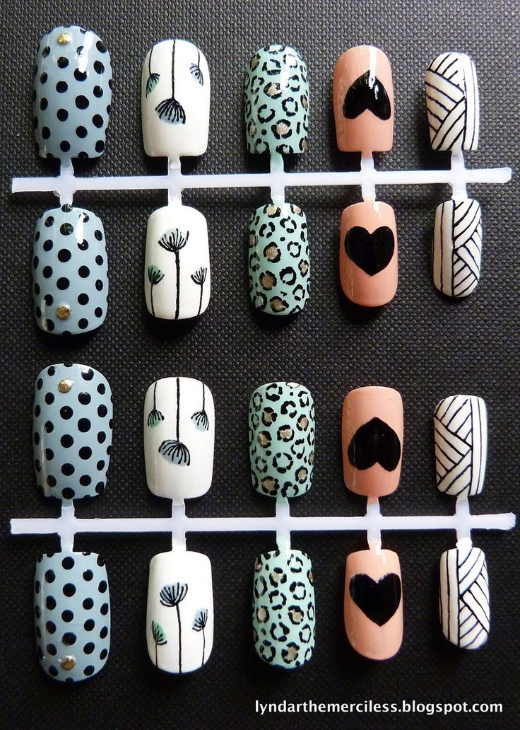 Mixed Retro / Vintage Prints Nail Art   {Lyndar the Merciless, false nails, fake nails, artificial nails, press on nails, blue, turquoise, white, peach, Sanderson, polka dots, floral, hearts, studs, graphic, basket, '50s}