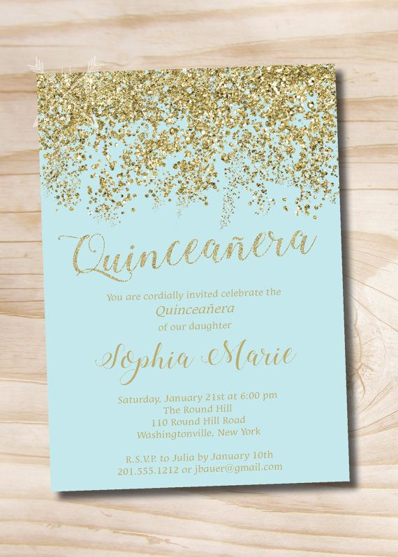 Turquoise and Gold Glitter Quinceanera Quince Sweet 16