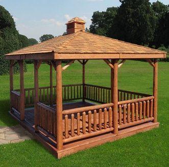 Rectangle cedar log gazebo kit outdoor structures for Cedar pavilion plans